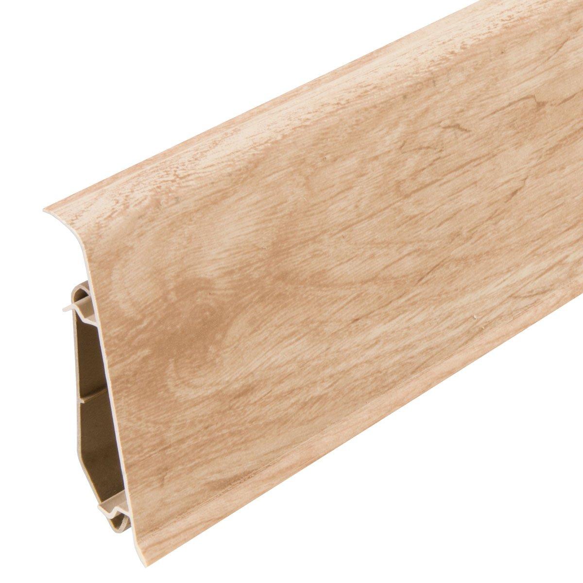 HOLZBRINK 200cm Sockelleiste Fussleiste 70mm x 20,7mm aus Kunststoff VEO 018 PASTELL EICHE