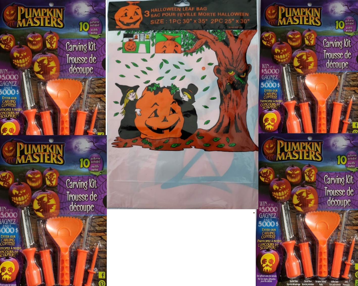 Pumpkin Masters Pumpkin Carving Kit Bundle of 5 Items Including 4 Carving Kits and 1 Package of 3 Halloween Leaf Bags