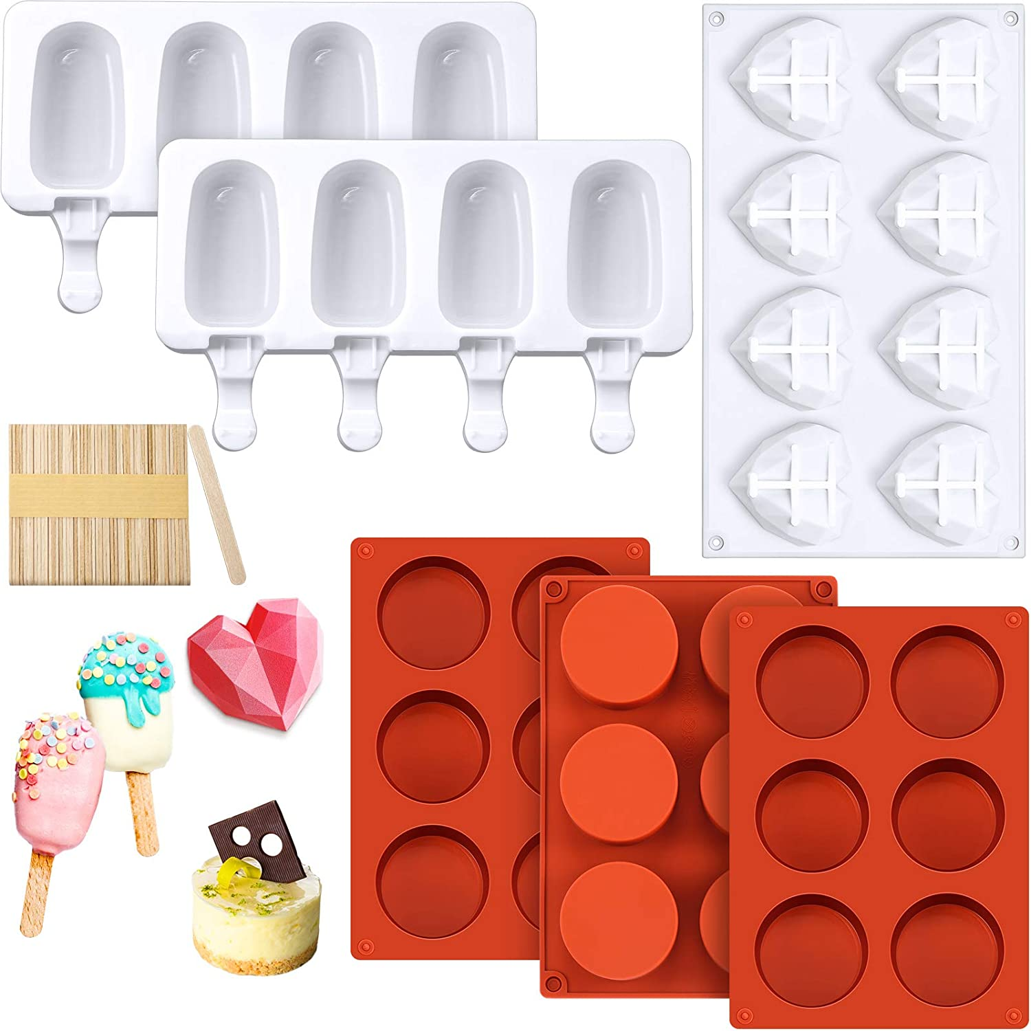 3 Pieces Round Cylinder Candy Molds 8 Cavities Diamond Heart Mold Silicone Heart Shaped Cake Mold, 2 Pieces Silicone Popsicle Molds 4 Cavities Ice Pop Molds with 50 Pieces Wooden Sticks