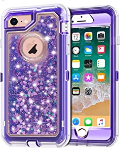 iPhone 8 Case, iPhone 7 Case, Anuck 3 in 1 Hybrid Heavy Duty Defender Case Sparkly Floating Liquid Glitter Protective Hard Shell Shockproof TPU Cover for Apple iPhone 7/ iPhone 8 4.7 inch - Purple