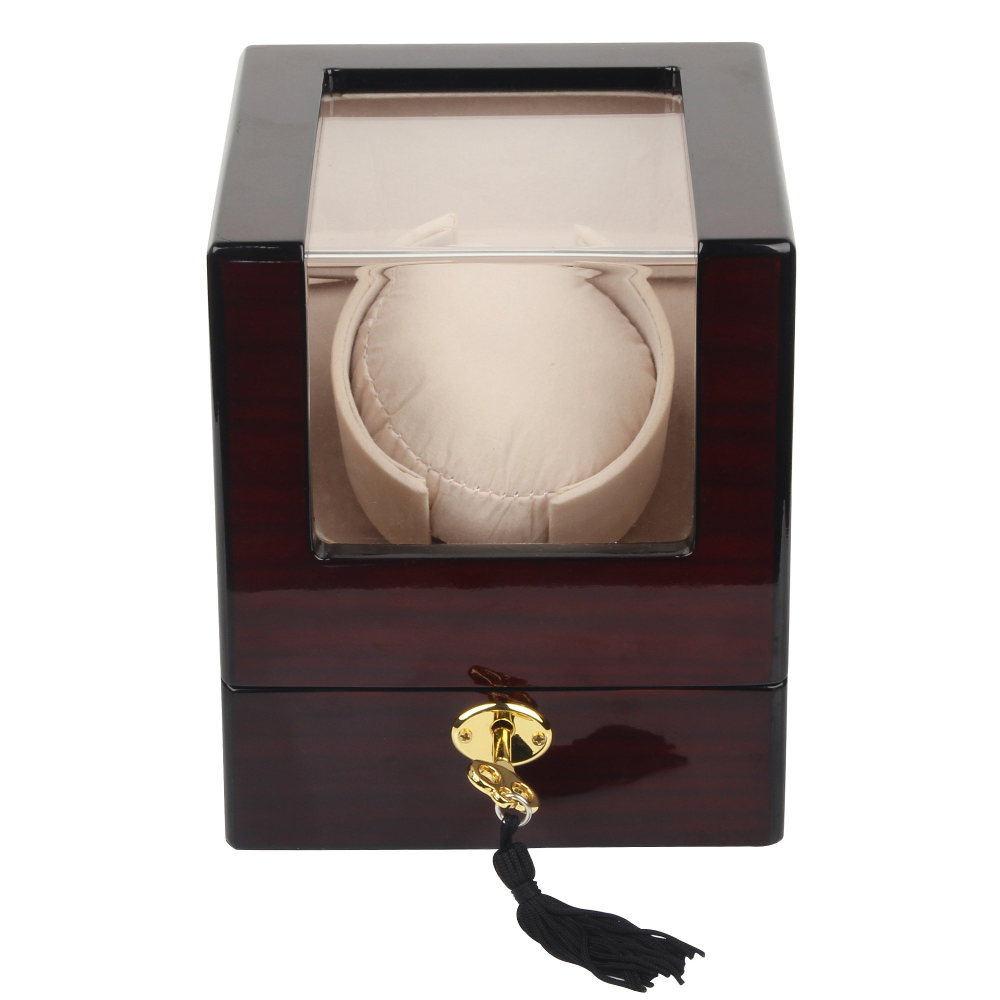 Kendal Top Quality Single Wooden Watch Winder with Advanced Control & Quiet Japanese Motor W1+0cbk