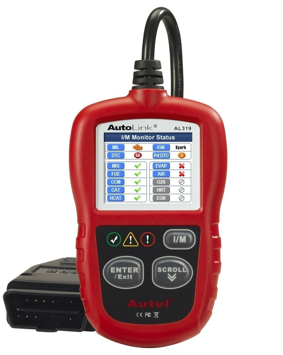 Autel AL319 OBD2 CAN Code Reader Reading and Erasing Codes Check Emission  Monitor Status Scan Tool