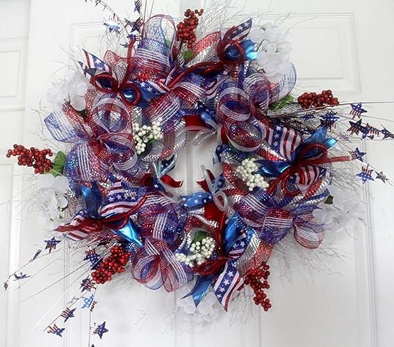 patriotic wreaths for front doorAmazoncom Extra large Patriotic wreath for front door 4th of
