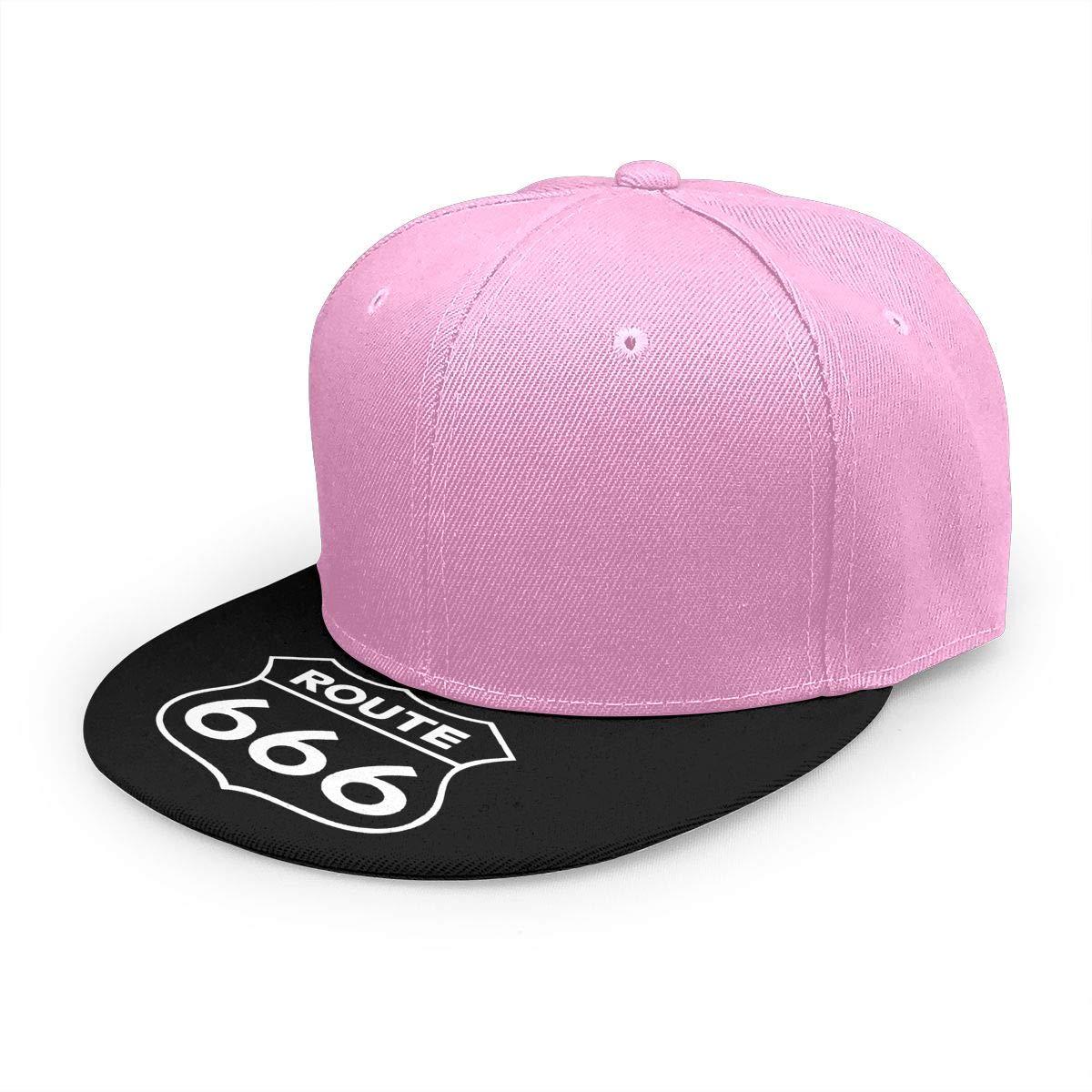 Adjustable Women Men Route 666 Print Baseball Cap Flat Brim Cap Hats Hip Hop Snapback Sun Hat Boys Girls Pink by Apolonia