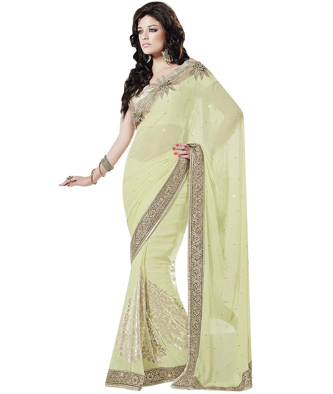 Indian Ethnic Bollywood Wedding Chiffon Light Green Fancy Saree