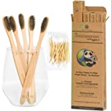 BAMBOOGALOO Premium Bamboo Toothbrushes | 5 Pack with FREE Bamboo Cotton Buds | Handmade Organic Natural Wooden Toothbrush | Soft Charcoal Bristles | Biodegradable Plastic Free Box, Eco-Friendly Gifts
