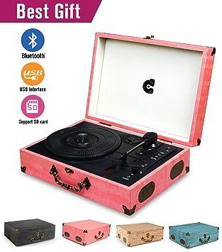 Amazon.com: CMC - Tocadiscos portátil con Bluetooth y 3 ...