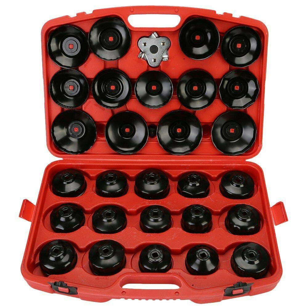 30 Piece for 3/8'' 1/2'' Oil Filter Wrench Tools Removal Style Duty Puller Set US J88101