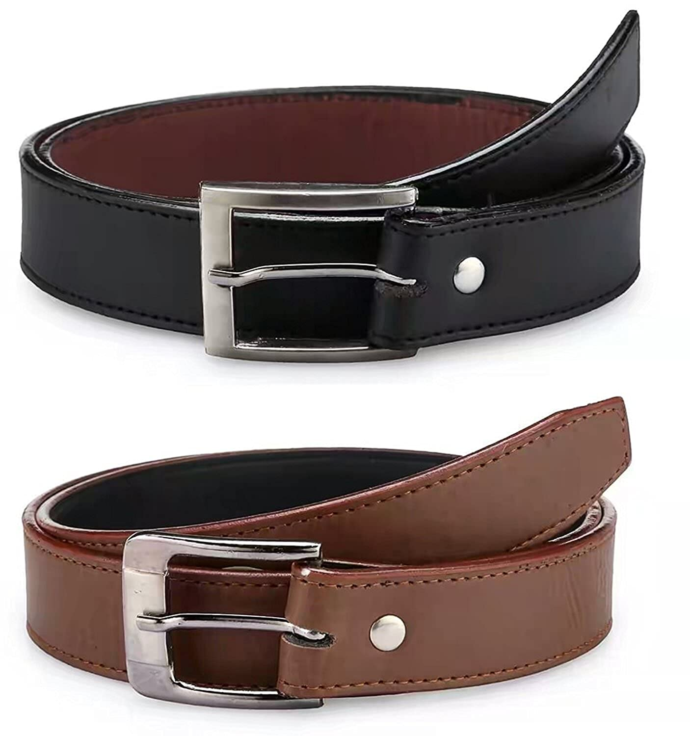 Devil Boy's PU Leather Belts Set of 2 Combo Pack (Black & Brown)