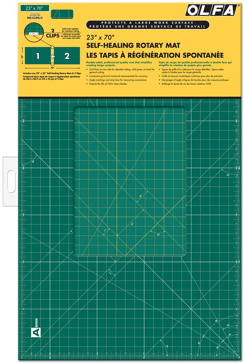 OLFA Gridded Cutting Mat Set-23''X70'' Clipped