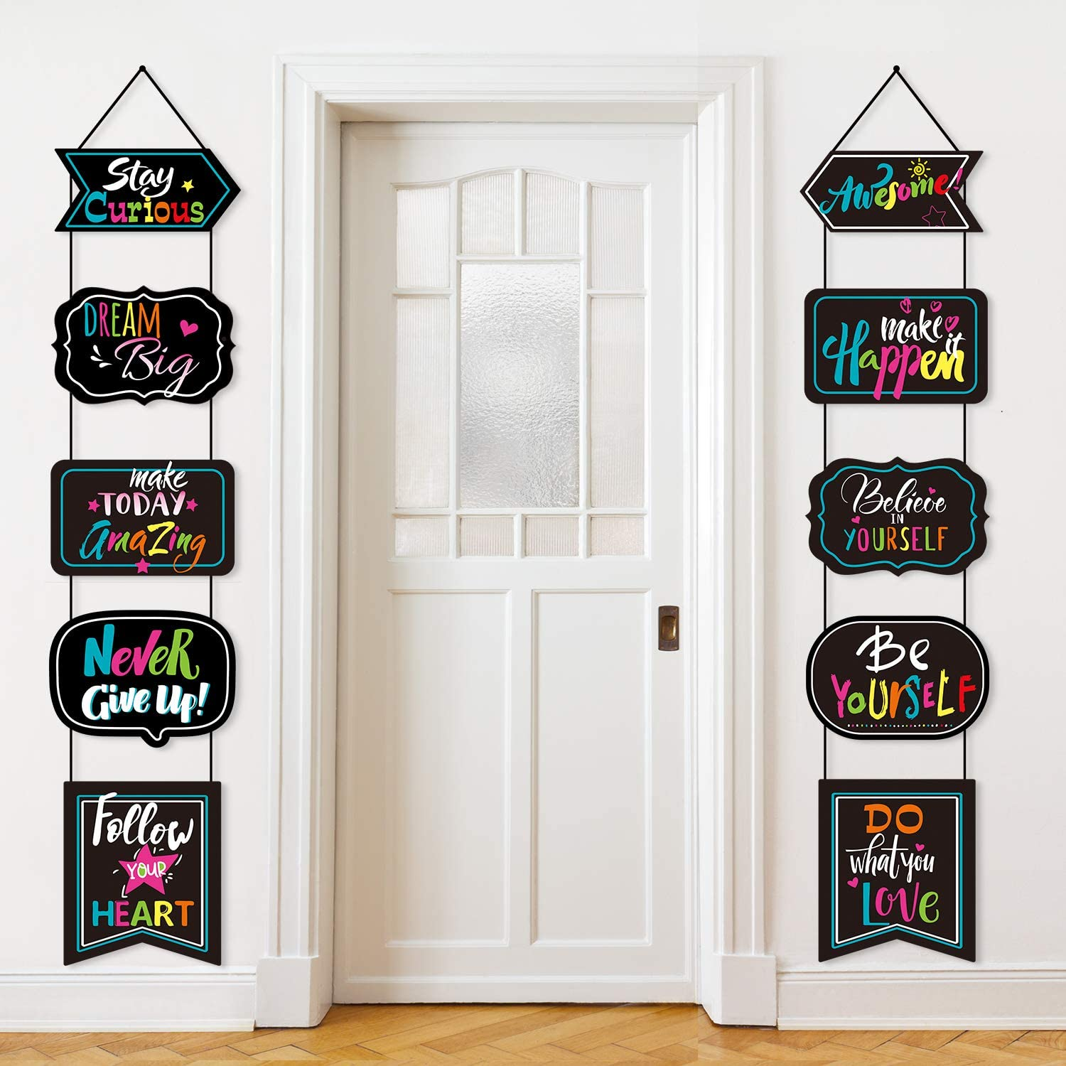 Classroom Decoration Motivational Banner Poster Inspirational Cards Motivation Porch Sign Positive Sayings Accents Cutouts for Students Teacher Educational Bulletin Board Office Home School Nursery