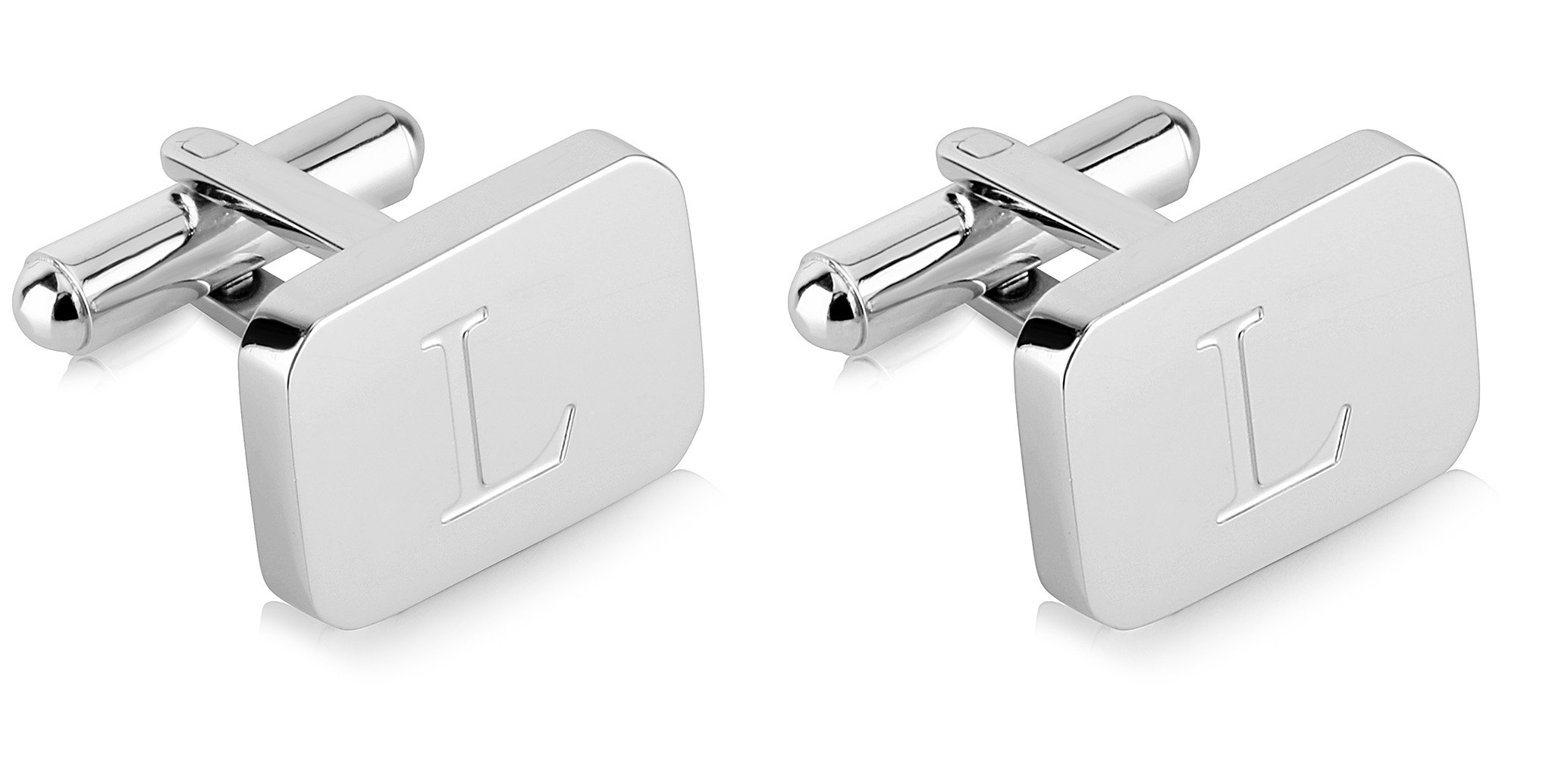 White-Gold Plated Monogram Initial Engraved Stainless Steel Man's Cufflinks With Gift Box -Personalized Alphabet Letter's By Lux & Pier (L- White Gold)