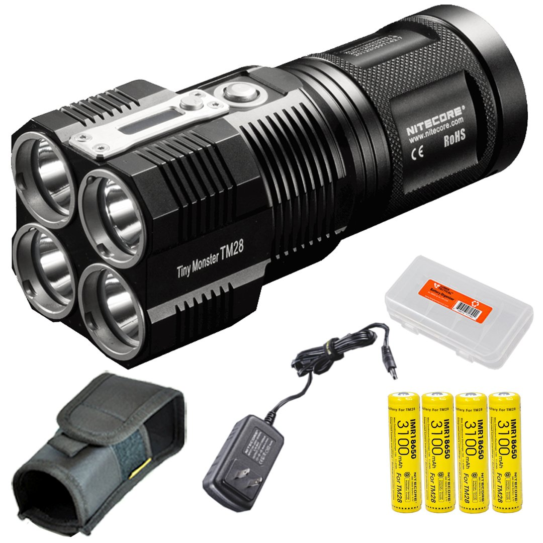 Nitecore Tiny Monster TM28 6000 Lumens 716 Yards Super Bright Rechargeable LED Flashlight w/ Nitecore IMR 18650s and Lumen Tactical Battery Organizer