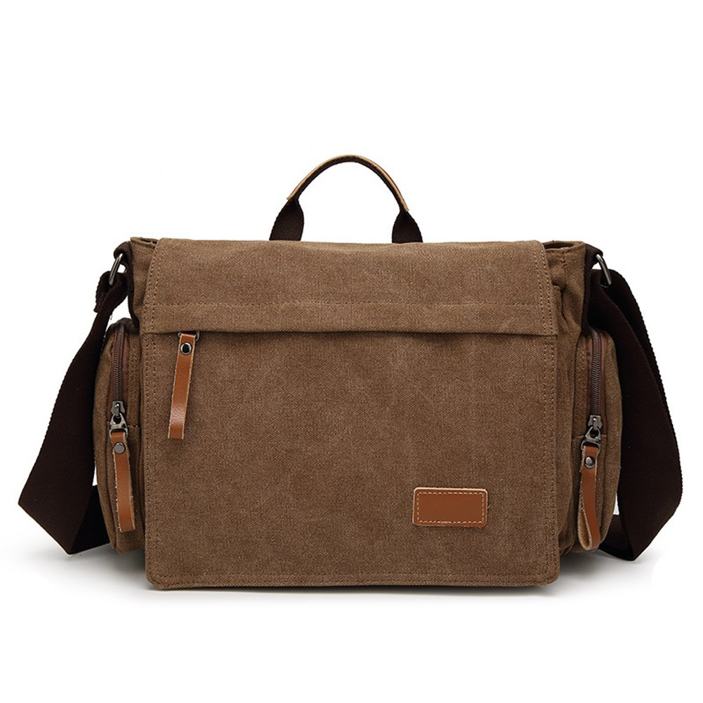 Shoulder Bag for Men, MiCoolker Vintage Canvas Crossbody Laptop Messenger Bag for Men and Women Over the Shoulder Travel Purse Business Briefcase Satchel School Bag