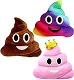 Emoji Poop Pillows 3 Piece Set, 12 Inches / 30CM, Large Plush Emoji Poop Pillow Set