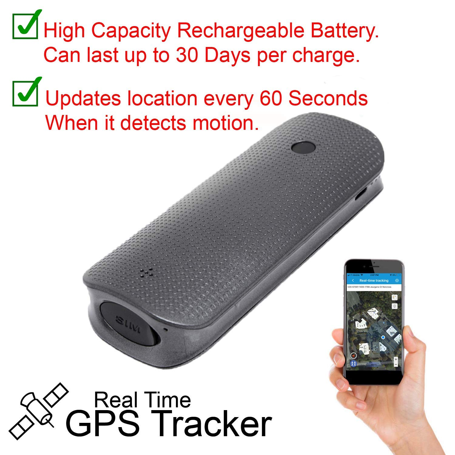 5400mAh Power Bank GPS Tracker Personal Realtime Tracking Device Standby 80 Days