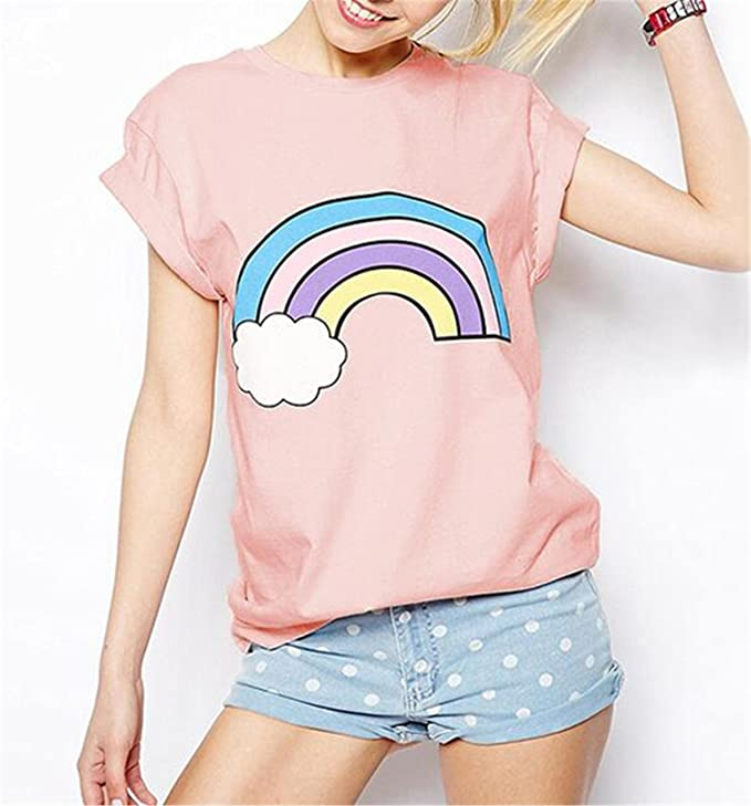 Wiipu Womens Rainbow print cotton cute pink t-shirts tees camisetas tops(J814)-Xsmall Pink at Amazon Womens Clothing store: