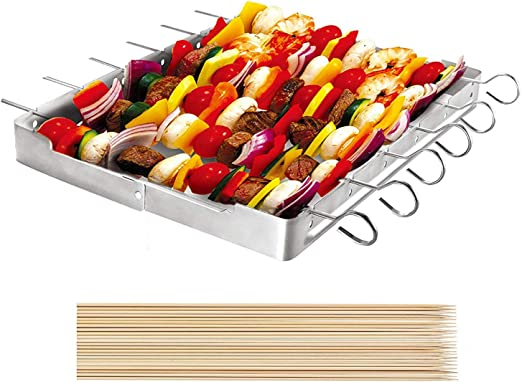 Unicook Heavy Duty Stainless Steel Barbecue Skewer Shish Kabob Set 6pcs 13 L Skewer And Foldable Grill Rack Set Durable And Reusable Bonus Of 50pcs 12 5 L Bamboo Skewers For Party And Cookout Garden Outdoor Amazon Com