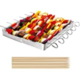 "Unicook Heavy Duty Stainless Steel Barbecue Skewer Shish Kabob Set, 6pcs 13"" L Skewer and Foldable Grill Rack Set, Durable an"