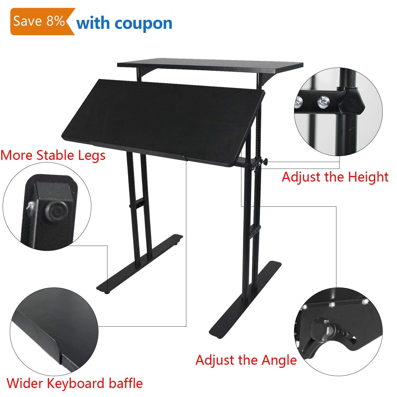 Heyesk Stand up Desk Height Adjustable Home Office Desk with Standing (Black)