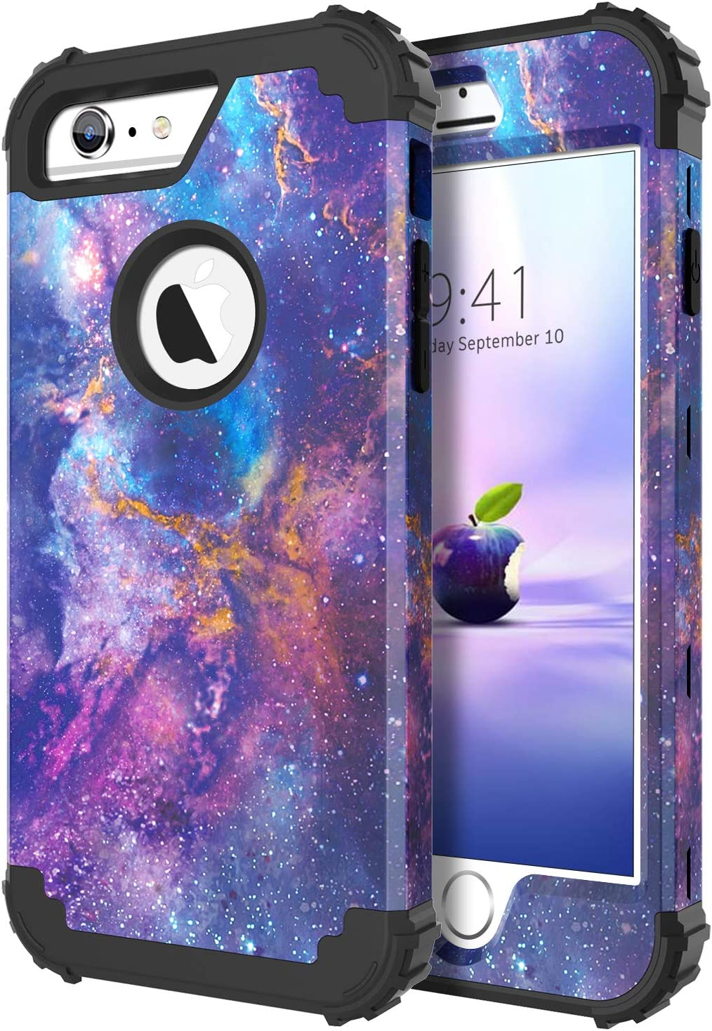 iPhone 6 Plus Case,iPhone 6S Plus Case,DUEDUE Nebula Galaxy Design Rugged Heavy Duty Shockproof 3 in 1 Hybrid Hard PC Covers Soft Silicone Bumper Full Protective Case for iPhone 6 Plus/6S Plus,Purple