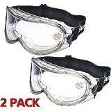 2 Pares Laboratorio Gafas Protectoras de Seguridad de Obra gafas proteccion [Cinta ajustable] SG007 con Lentes…