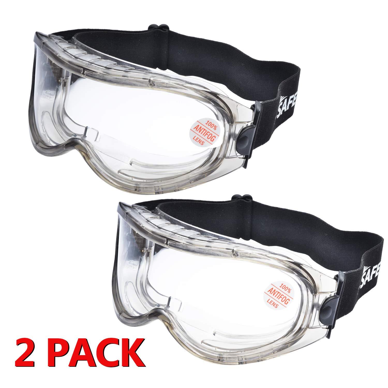 2 Pares Laboratorio Gafas Protectoras de Seguridad de Obra gafas proteccion [Cinta ajustable] SG007 con Lentes Policarbonatos Protección contra Impacto Soldadura Laboral Graduadas Trabajo