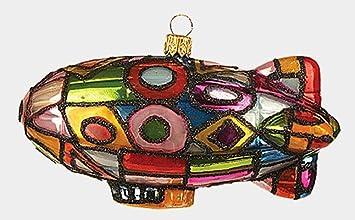 Multi Color Blimp Zeppelin Airship Polish Glass Christmas Ornament Decoration
