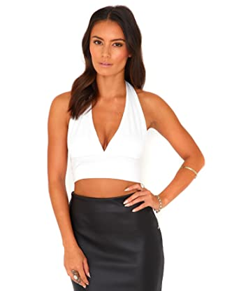 bb1fd3f30af Womens Edeva Halterneck Crop Top In White - 4: Amazon.co.uk: Clothing