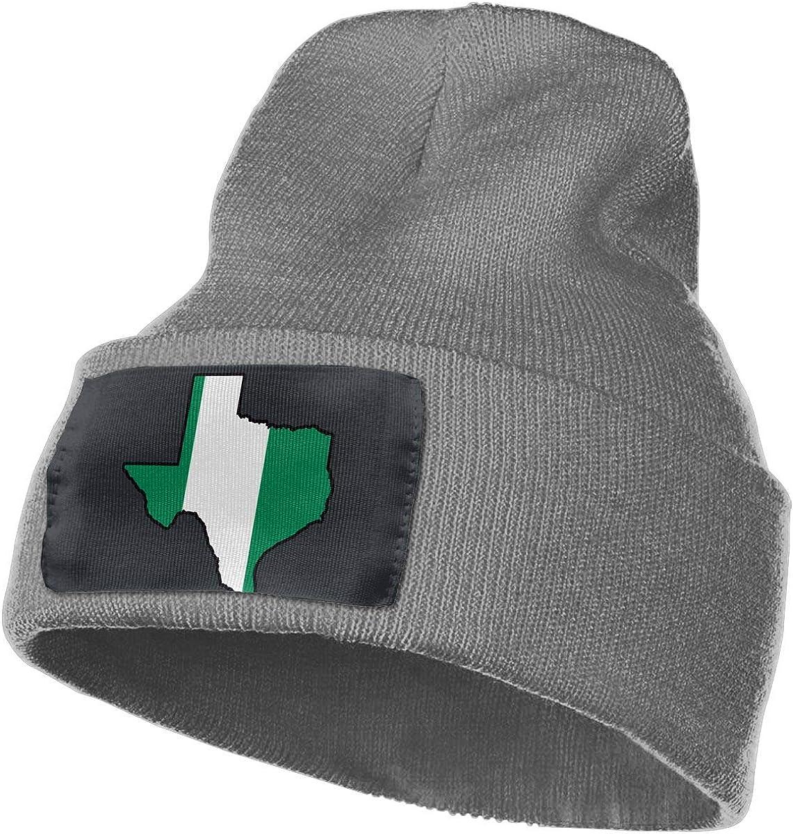 MXMAOM9MX Nigerian Flag Texas Map Warm Knitting Hat Mens Womens 100/% Acrylic Skull Cap