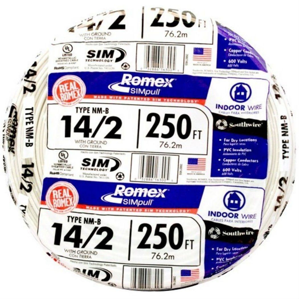 Romex 250' Roll 14-2 AWG Guage NM-B Indoor Electrical Copper Wire Cable w Ground