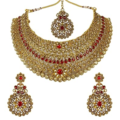 Buy Much More Red Lct Gold Plated Metal Choker Necklace Set For