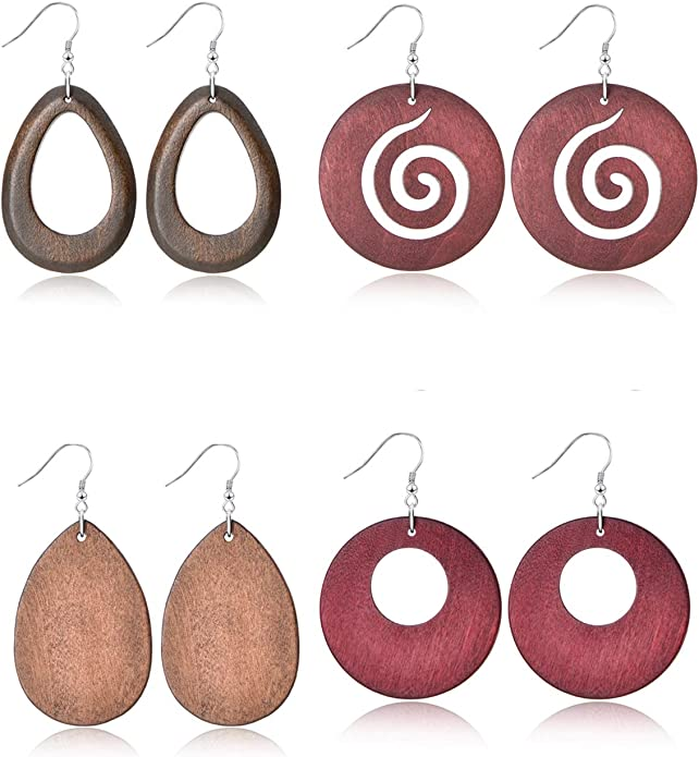 Ofeiyaa 4-6 Pairs Statement Dangle Natural Wood Teardrop Geometric Earrings Stainless Steel Stud Bohemia Retro Earrings for Women Girls