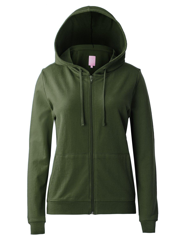 Regna X Women's Long Casual Loose Plus Size Full Zip Hooded Sweatshirt Green S