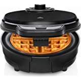Chefman Anti-Overflow Belgian Waffle Maker w/Shade Selector, Temperature Control, Mess Free Moat, Round Iron w/Nonstick Plate