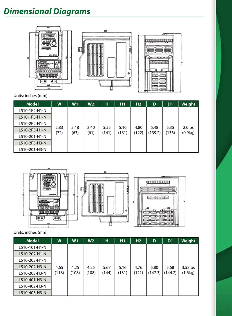 Teco Variable Frequency Drive, 1HP, 460 Volts 3 Phase Input, 460 Volts 3 Phase Output, L510-401-H3, VFD Inverter for AC motor control by Teco