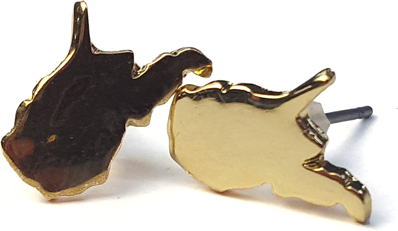 Nitro USA West Virginia State Mini Pierced Earring-Gold