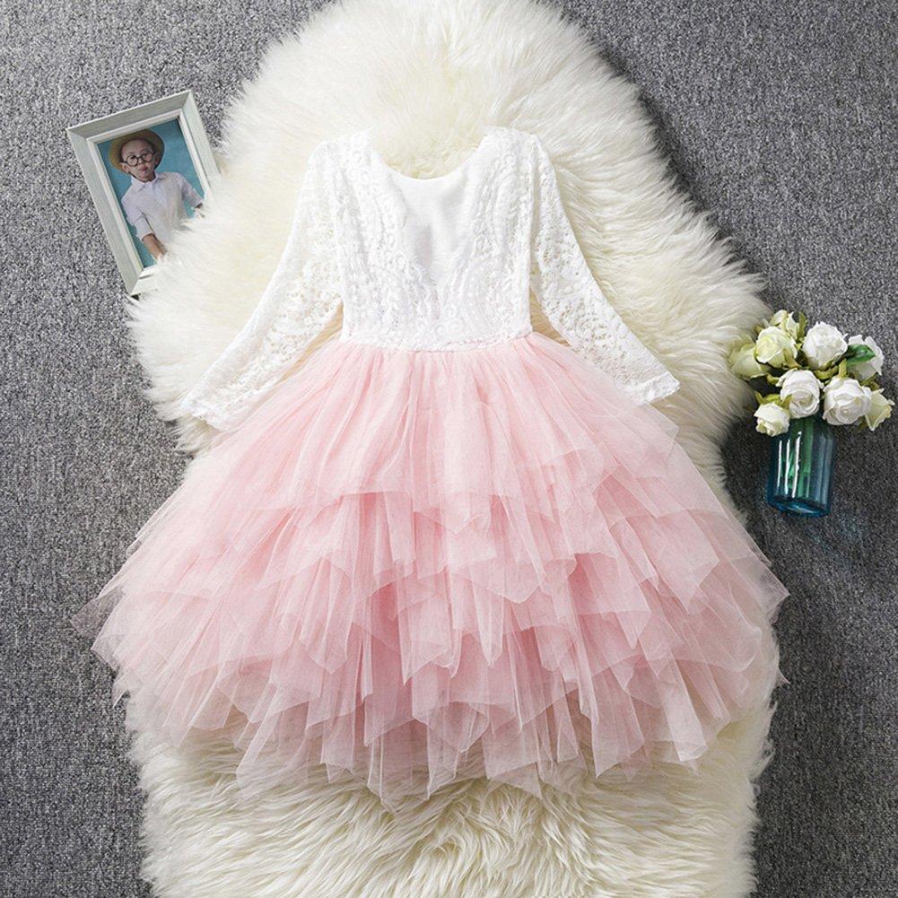 Fashionwu Girl Long Sleeve Lace Long Dress Elegant Lovely Fluffy Princess Dress
