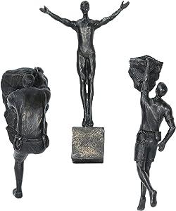 Olpchee 3PCS Man Climbing Wall Sculpture Resin Art Sculptures Home Decor Modern 3D Wall Sculpture Statue Figure Kit for Home Office Decor (Copper Black)