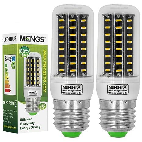 MENGS® Pack de 2 Bombilla lámpara LED 8 Watt E27, 72x 4014 SMD,