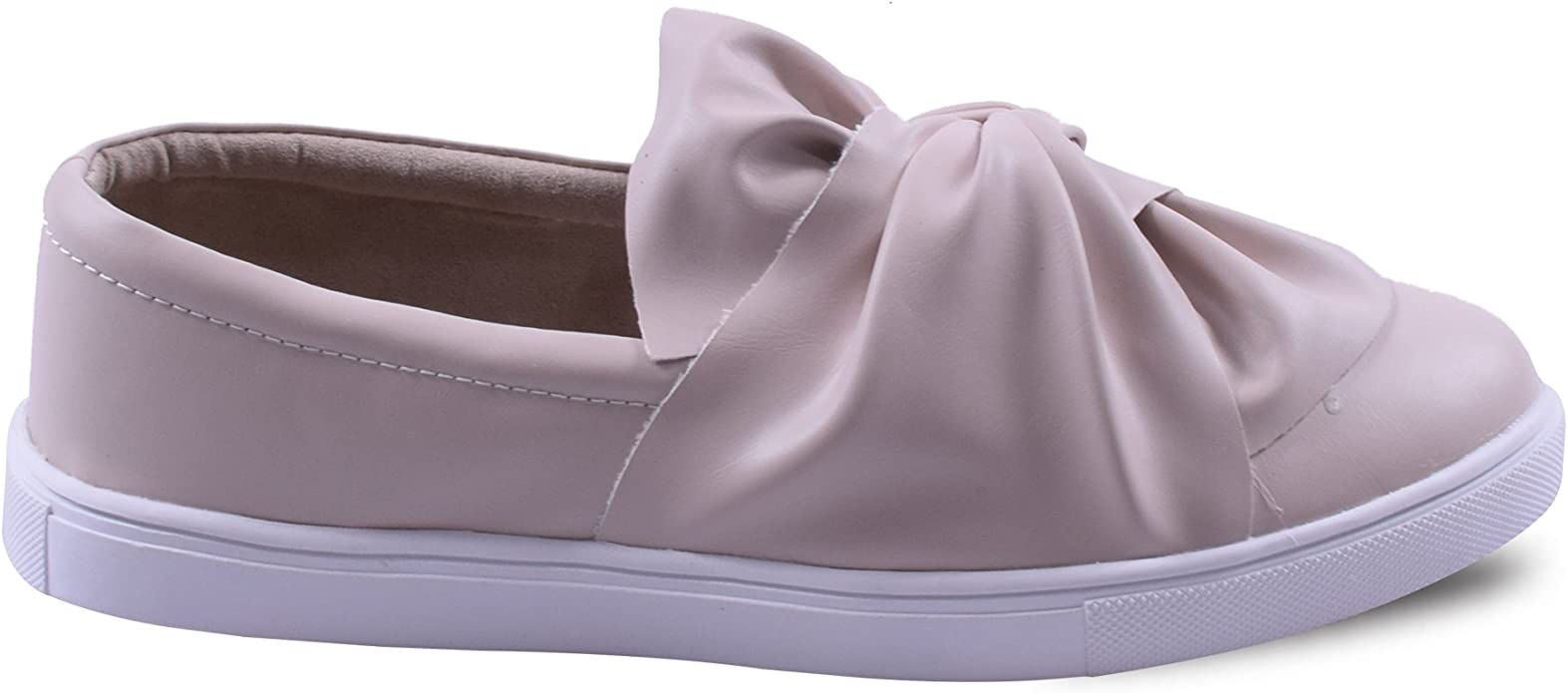 Womens Ladies Slip On Flat Knot Front