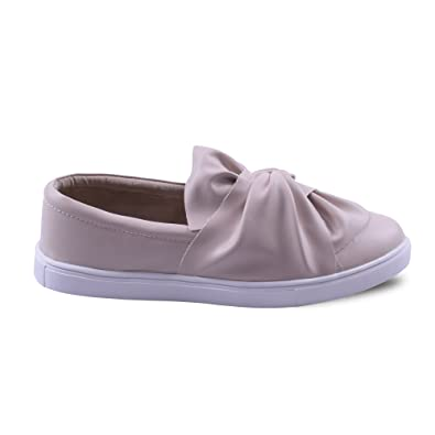 Womens Ladies Slip On Flat Knot Front Detail Faux Leather Smart Pumps  Trainers Casual Shoes Size