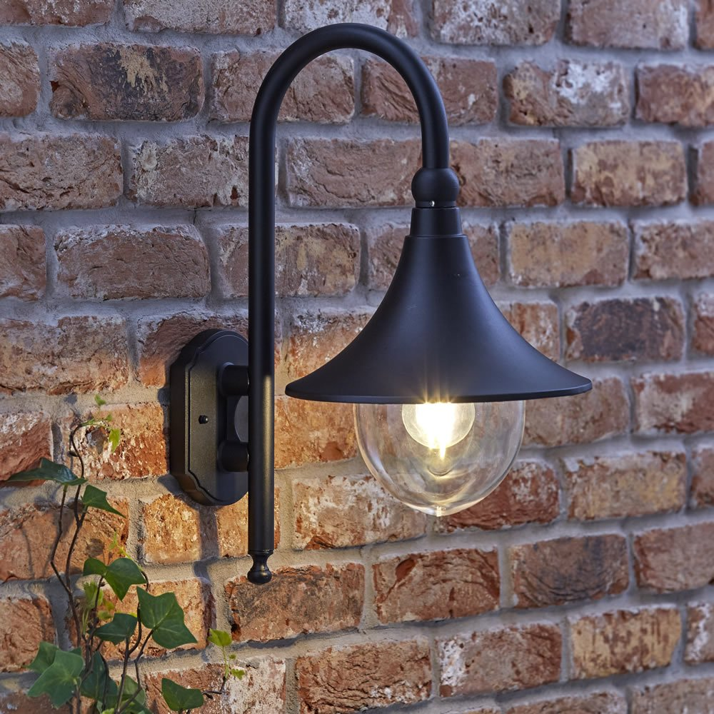 Biard Florence Curved Swan Neck Outdoor Wall Lantern Light Black with Free 4W LED Filament Bulb - IP44 Waterproof Garden Lamp