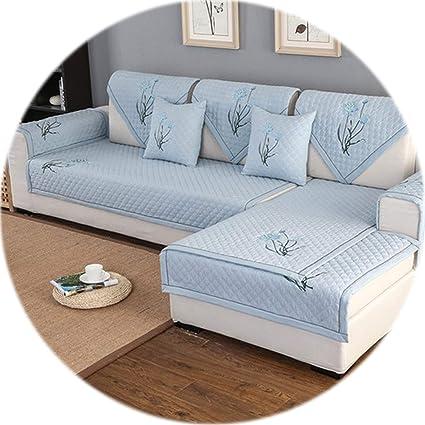 Amazon.com: HANBINGPO Elegant Floral Embroidery Grey Blue ...