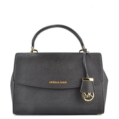 6d934a3a9311 MICHAEL Michael Kors Ava Medium Black Textured Leather Satchel one size  Black