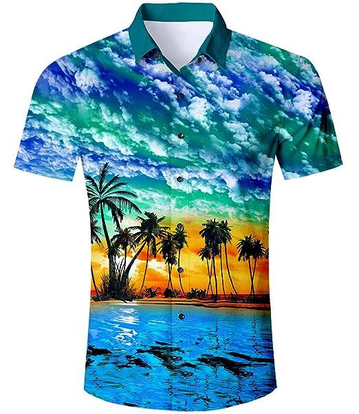 new arrival 6a36e 21bb0 TUONROAD Camicia da Uomo Hawaiana Camicia Hawaiana da Uomo,Slim Fit per Le  Vacanze in Spiaggia Tropicale