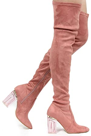 CR Fay-2 Thigh High Over Knee Lucite Clear Block Chunky Heel Boot Lite Pink 10