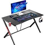 """Mr IRONSTONE Gaming Desk 45.3"""" W x 29"""" D Home Office Computer Table, Black Gamer Workstation with Cup Holder, Headphone Hook"""