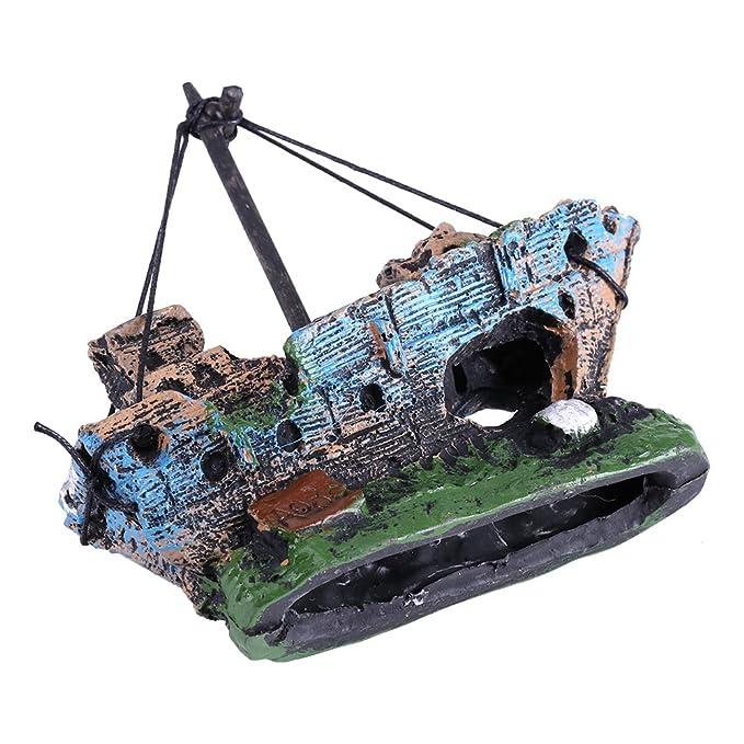 Fdit Acuario Decoraciones Artificiales Resina Acuario Ornamento Barco Acuario Paisaje para Tanque de Peces Barco Pirata: Amazon.es: Hogar