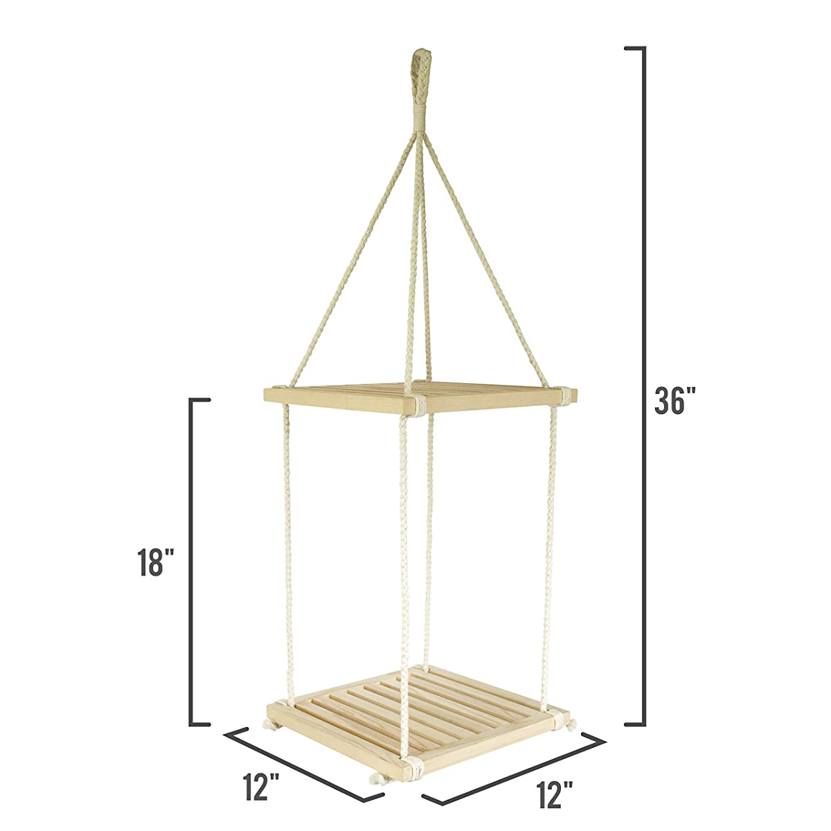 23 Bees | Macrame Hanging Shelf | Planter Holder & Floating Shelves | Handcrafted Wood with Rope and Hanger (2 Wooden Square Layers)